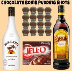 Chocolate Bomb Pudding Shots Sm Chocolate Instant Pudding ¾ c Kahlua ¾ c Coconut Rum Cool Whip (Extra Creamy preferred but not required) Whisk Kahlua and Instant Pudding together until as thick Chocolate Pudding Shots, Jello Pudding Shots, Chocolate Bomb, Pudding Pop, Alcohol Chocolate, Chocolate Martini, Chocolate Liqueur, Toffee Pudding, Chocolate Party