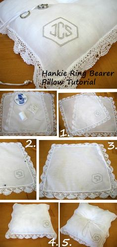 DIY Hankie Ring Bearer Pillow made out of handkerchiefs.  So easy to make. bumblebeelinens.com