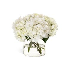 Diane James White Hydrangea ($385) ❤ liked on Polyvore featuring home, home decor, floral decor, flowers, plants/flowers, white, white hydrangea bouquet, white flower bouquet, flower bouquet and white silk flowers