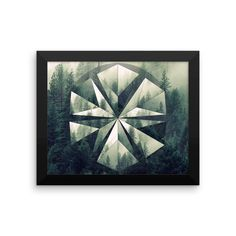 Framed Forest Geometric Circle Mandala Polyscape Art Print Yoga Meditation Mandala Design
