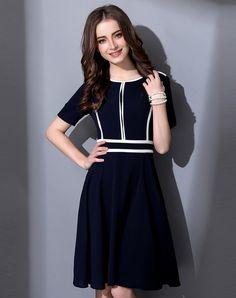 Blue Elegant Swing Midi Dress - AdoreWe.com
