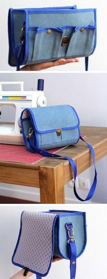 Besace sac à appareil photo Bellay Bag Patterns To Sew, Sewing Patterns, Makeup Bag Pattern, Camera Bag Purse, Diy Sac, Side Bags, Hacks, Laptop Bag, Bag Storage