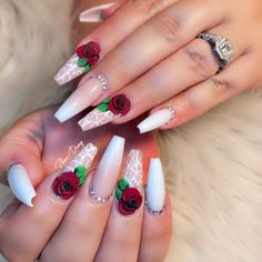 40 Lovely Rose Nail Art Designs to Fall In Love With Rose Nail Design, Rose Nail Art, Rose Nails, Gel Nails, Nail Polish, Nail Swag, Mexican Nails, Red And White Nails, 3d Flower Nails