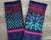 Fingerless Gloves - Blue Wool Fingerless Gloves - Nordic Gloves with Stars - Knit Fingerless Gloves  nO 66.