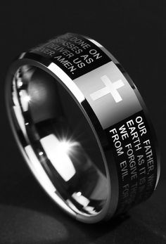 Stunning MM MM Mens Cross Engraved Tungsten Wedding Ring Band iDream Jewelry