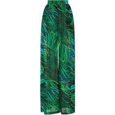 Elie Saab Wide Leg Printed Pant (6.070 RON) ❤ liked on Polyvore featuring pants, trousers, bottoms, green, silk wide leg trousers, green wide leg pants, green silk pants, silk wide leg pants and green pants