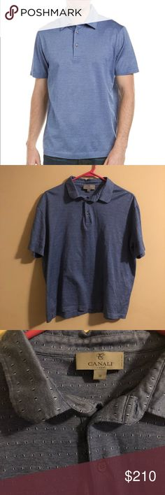 Canali Blue Dot Polo Button Top In amazing and clean condition Canali Shirts Polos