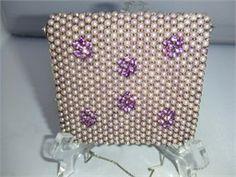 Pearl & lilac rhinestone purse