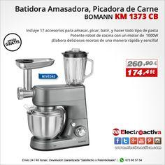 ¡Elabora deliciosas recetas de una manera rápida y sencilla! ROBOT DE COCINA BOMANN KM 1373 CB http://www.electroactiva.com/bomann-km-1373-cb-batidora-amasadora-picadora-de-carne-batidora-vaso-pasta-1000w.html #Elmejorprecio #Batidora #Amasadora #Robotdecocina #Chollo #Electrodomestico #PymesUnidas