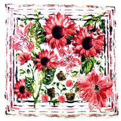 Foulard en soie satin rose marguerites premium 90 x 90 cm - Foulard soie carré - Mes Echarpes