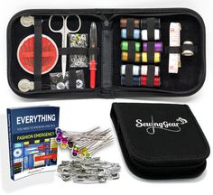 *Free and Fast Shipping* *Free and Fast Shipping* *Free and Fast Shipping*  High Quality Compact Sewing Kit for Home, Travel, Camping & Emergency + eBook, 100 Extra Pins & Safety Pins. Premium Sew Supplies Expansive Case Set. Best Gift for Beginners, Kids, Girls, Boys, Adults.  EVERYTHING YOU NEED IN ONE COMPACT KIT - Stainless steel scissors, long measuring tape, 12 color spools of thread (white & black double long), 24 needles needle holder, 4 small & 4 large safety pins, 3 black & 3 white…