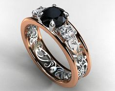 Black and white Diamond filigree engagement ring, trinity ring, two tone ring, rose gold, white gold, black, unique, wedding ring, gothic