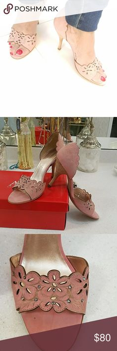 Pink Ann Klein Shoes Pink is all the rage right now!  These gorgeous pink shoes will sure complement any outfit. Leather upper with lace like detail and rhinestones. Heel, 3 1/2 inch heel  .Worn twice! Size 7 M.. Ann Klein Shoes Heels