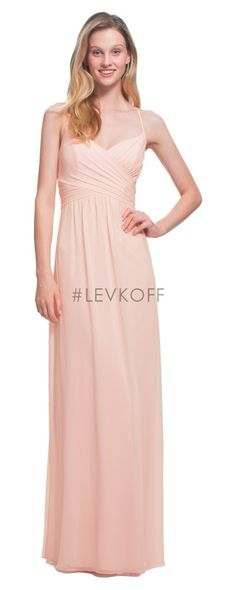 c06b1527ae by Bill Levkoff 7020 is a spaghetti strap V neck long chiffon bridesmaid  gown. Criss-cross pleats adorn the bodice