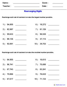 Rearranging for the Largest and Smallest Numbers Worksheets