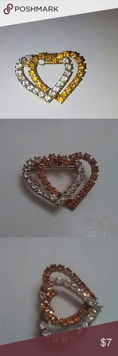 NOT FOR SALE .Double Heart Brooch. Excellent condition. Color clear and orange rhinestone. H.1 inch.w.1 1/2 inch. Jewelry Brooches