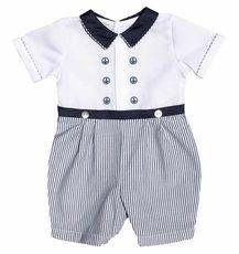 Carriage Boutiques Baby Boy Sailor Romper with White Top and Seersucker Short Little Boy Outfits, Toddler Outfits, Baby Boy Outfits, Baby Boy Dress Clothes, Baby Dress, Baby Boy Christening, Christening Gowns, Blessing Dress, Sailor Outfits