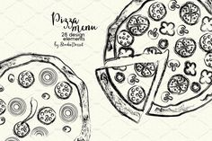 Pizza Menu by StudioDesset on Digital Illustration, Graphic Illustration, Illustrations, Pizza Company, Pizza Menu, Menu Cards, Graphic Design Typography, Greeting Cards, Diy Projects