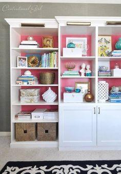 library bookshelves centsational girl - uses ikea billy and besta Library Bookshelves, Ikea Bookcase, Pink Bookshelves, Book Shelves, Decorate Bookshelves, Girls Bookshelf, Bookcase Makeover, Bookshelf Ideas, Ikea Shelves