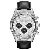 Michael Kors Watch, Women's Chronograph Layton Black Leather Strap 44mm MK5669