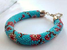 Beaded Cherry Flower Bracelet - Toho Crochet Beaded Jewelry Beadwork
