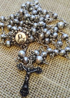 Heirloom First Communion Rosary in Sterling Silver Pearl by Et Corde Rosaries & Jewelry