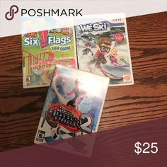 3 Wii Games:CHRISTMAS GIFT IDEA bundle of wii games. 3 barely syed wii games. maybe twice each. 1. ski flags dun park 2. we ski 3. hottest party (dance) 🎮🎮 originally 20-25$ each. Accessories