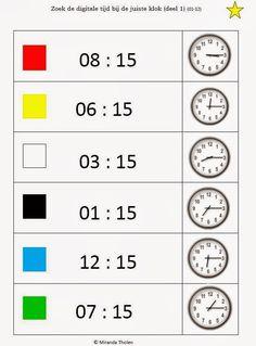 Miranda's lesmaterialen : knijpkaarten klokkijken (uren, half uur, kwart voor, kwart over, a.m./p.m. analoog/digitaal)