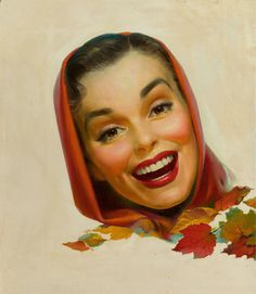AMERICAN ARTIST Century) Girl in Scarf Oil on canvas, laid on board 21 x 18 in. Not signed From the - Available at 2010 May Signature Illustration. Vintage Images, Vintage Posters, Vintage Art, Vintage Romance, Vintage Pictures, Vintage Prints, Decoupage, Retro Illustration, Vintage Illustrations