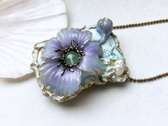 Flower necklace Anemon flower pendant  light blue flower
