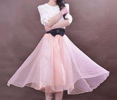 Full dusty rose pink organza bow swing skirt