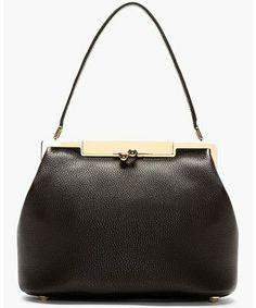 Black Leather Sara Doctor's Tote Bag, Dolce & Gabbana