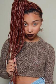 30 Awe-Inspiring Red Box Braids Hairstyles You Will Love! - Part 11 Cute Box Braids, Red Box Braids, Box Braids Styling, Burgundy Box Braids, Box Braids Hairstyles, Protective Hairstyles, Protective Styles, Black Hairstyles, Pretty Hairstyles