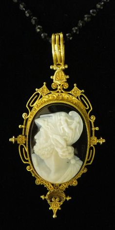 Victorian Mourning Locket Circa 1880's: 18K Gold & Hand Carved Onyx Cameo of a Greek Warrior