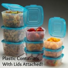 Tupperware with lids attached.