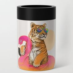 Chillin (flamingo Tiger) Can Cooler/stubby Holder by 38 Sunsets -