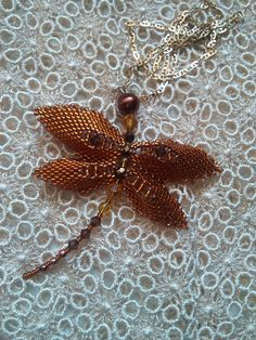 FREE SHIPPING Golden dragonfly goldenautumnpendant by Mamyblue, $45.00 Brooch, Necklaces, Free Shipping, Trending Outfits, Unique Jewelry, Handmade Gifts, Etsy, Vintage, Kid Craft Gifts