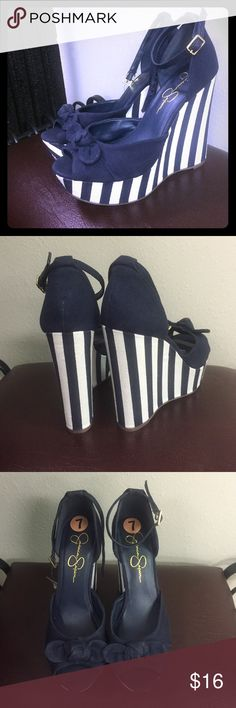 Jessica Simpson striped wedges Navy blue stripe wedges. Size 7. Brand new. Ankle strap. Jessica Simpson Shoes Wedges