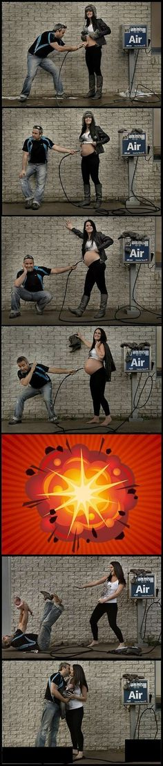Crazy pregnancy progression photo - but really cute