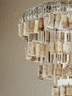 I'm all for doing fun things with corks, but seriously?... Make a shabby chic chandelier.