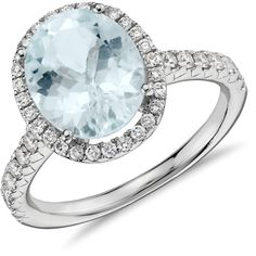 Blue Nile Aquamarine and Diamond Halo Ring ($1,590) ❤ liked on Polyvore featuring jewelry, rings, 18 karat gold ring, round halo diamond ring, aquamarine jewellery, oval aquamarine ring and pave setting ring