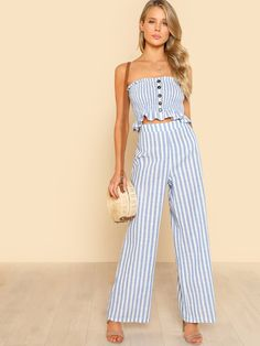 Blue Cotton Stripe Twin Set