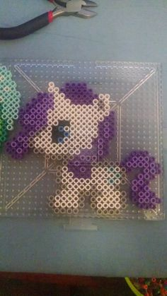 MLP Rarity Chibi perler beads by swimmingangel on deviantART
