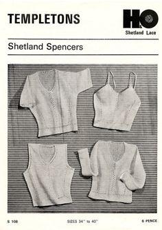 "Vintage Knitting Pattern Shetland Spencer's Under Vests Shetland Lace Wool 34-40"" Bust PDF Instant Download by Sweetvintagepattern on Etsy"