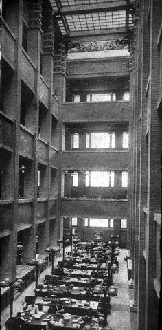 Groundbreaking interior design of the Larkin Building.  1904-1950.