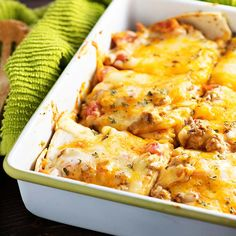 This is a casserole recipe the whole family will love. This Mexican lasagna has just seven ingredients from tortillas, ground beef, and cheese for an