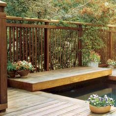 Vertical louver deck balusters or staggered boards afford privacy when viewed straight on but allow airflow and open views from the side.   Photo: Courtesy of Bay Area Fence & Deck, Inc.   thisoldhouse.com