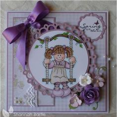 Girl Swinging, Spring Images, Soul Healing, Copics, Stamp, Passion, Purple, Colouring, Handmade Cards