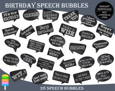 Birthday Photo Booth Props-Birthday Props-Birthday Photo Props-Birthday Speech Bubbles-Printable Props-Chalkboard Speech Bubbles-Birthday Chalkboard Props Bubble Birthday, Birthday Cheers, Happy Birthday Me, 85th Birthday, Birthday Ideas, Photography Booth, Photobooth Props Printable, Birthday Photo Booths, Happy Wishes