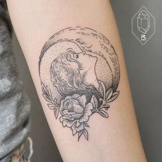 I love the line work on this moon and woman tattoo.